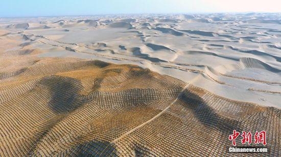 """新疆固沙工程 巨网""""罩""""住塔克拉玛干沙漠"""