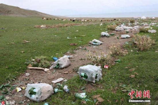 新疆赛里木湖边牛羊成群 游客丢下成堆垃圾大煞风景