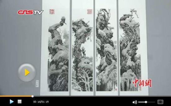 画家周尊圣132副胡杨画作亮相新疆 市民点赞