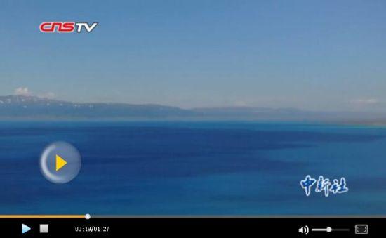 空中俯瞰新疆高山湖泊赛里木湖