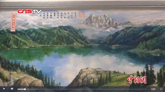 新疆昌吉展出70米油画卷 历史遗迹跃然笔端